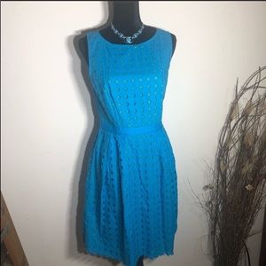 Ann Taylor LOFT Blue Eyelet Lace Fitted Dress.
